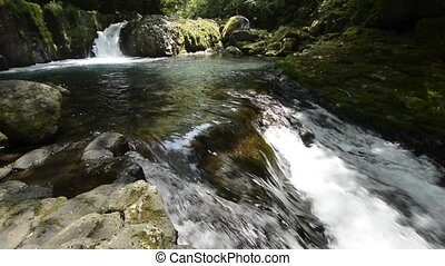 Cascade and rapid flow - Brook spread falling from cascade...