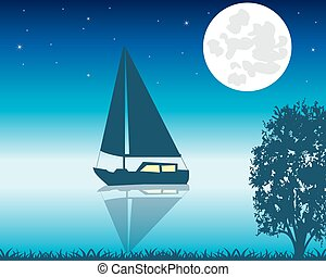 Sailing boat seaborne in the night - Night sea view, sail...