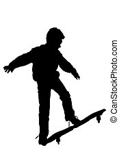 waveboard - a silhouet of a boy with a waveboard