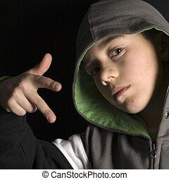 tough boy - a tough boy with a hood
