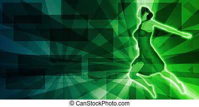 Empowered Female Dancing with Copyspace Background Art