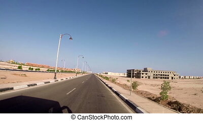 View on highway and landscape. Egypt, Africa