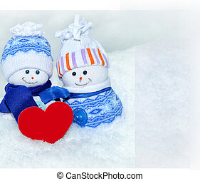 snowmans and Valentine card - The photo shows two funny...