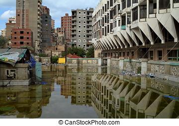 inundações, em, Alexandria,