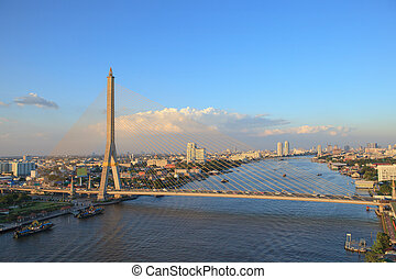 rama 8 bridge crossing chaopraya river in heart of bangkok...