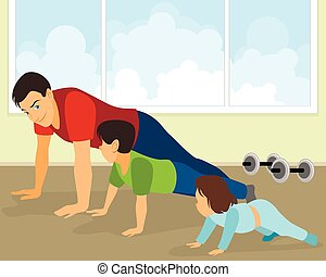 Family doing exercises - Vector illustration of a family...