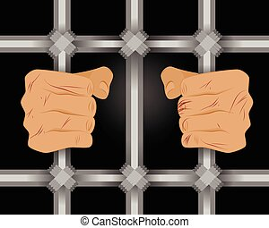 Prisoner behind bars - Vector illustration of a prisoner...