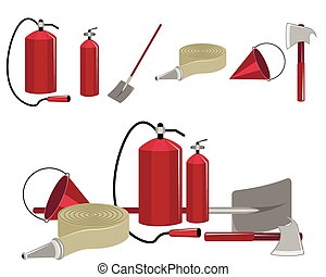 Fire-fighting equipment - Vector illustration of a set of...