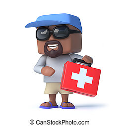 3d Sailor dude has a first aid kit handy - 3d render of a...