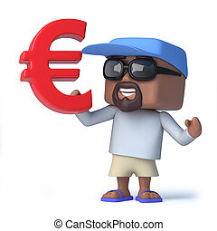3d Sailor dude holds a Euro currency symbol - 3d render of a...
