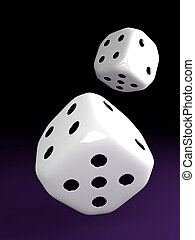two dice rolling over violet table - two shiny dice rolling...