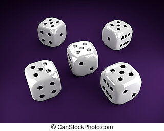 five dice rolling over violet table - five shiny dice...