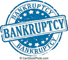 bankruptcy - Scratched round blue stamp with the word -...