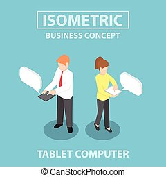Isometric business people using tablet computer