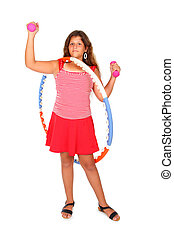 girl with a hula hoop - young girl with a hula hoop and pink...
