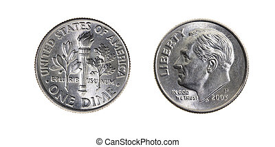Ten American cents - photographed close up and isolated on...
