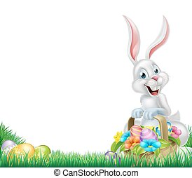 Cartoon White Easter Bunny Egg Basket - Cartoon easter scene...