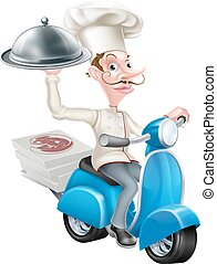 Cartoon Chef on Scooter Moped Delivering Food