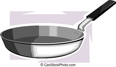 fry pan - Illustration of a silver metallic fry pan with a...