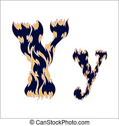 fiery font blue letter Y on a white background