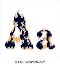 fiery font blue letter A on a white background