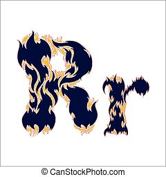 fiery font blue letter R on a white background