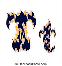 fiery font blue letter T on a white background