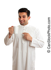 Smiling ethnic arab man with coffee