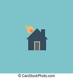 House on fire vector icon - House on fire Colorful vector...