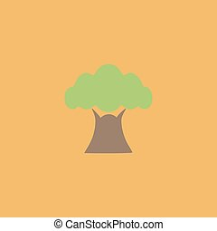 Baobab tree icon - Baobab tree. Colorful vector icon. Simple...