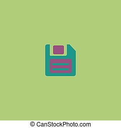 Magnetic floppy disc icon for computer - Magnetic floppy...