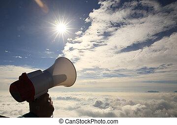 alto-falante, montanha, céu, mão, pico, ter