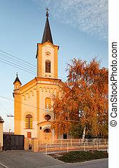Church in Slovakia village Jablonec at autumn