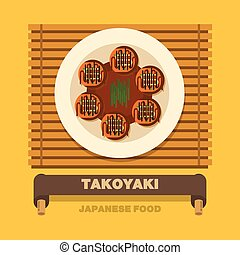 Japan's national dishes,Takoyaki Octopus Ball - Vector flat...