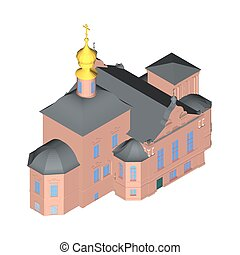Church building Isometric 3D icon. Vector illustration eps 10.