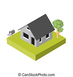 Isometric 3D icon Pictograms house with a mailbox and trees...