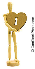 Wooden male person with heart with lock key isolated on...