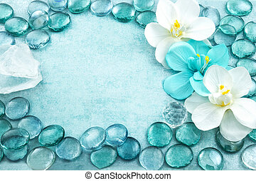 Blue glass drops aqua with white flowers orchid and bar of...