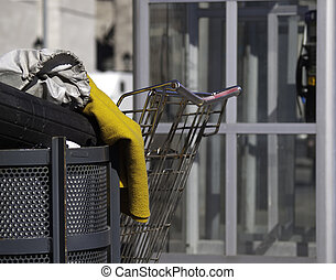 Homeless person\'s belongings - Shopping cart sitting beside...