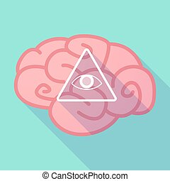 Long shadow brain with an all seeing eye - Illustration of a...