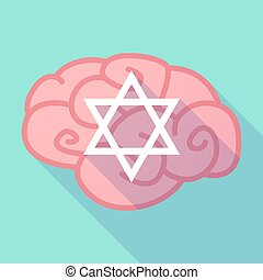 Long shadow brain with a David star - Illustration of a long...