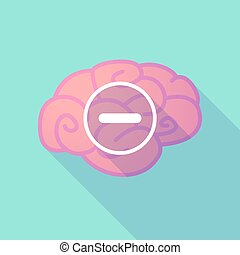 Long shadow brain with a subtraction sign - Illustration of...