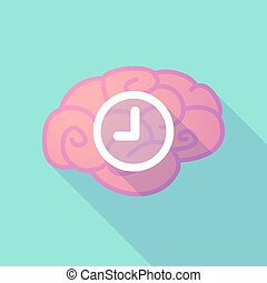 Long shadow brain with a clock - Illustration of a long...