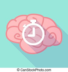 Long shadow brain with a timer - Illustration of a long...