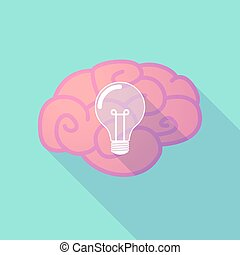 Long shadow brain with a light bulb - Illustration of a long...