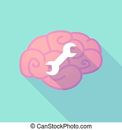 Long shadow brain with a wrench - Illustration of a long...