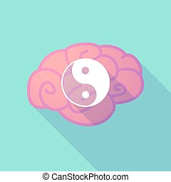 Long shadow brain with a ying yang - Illustration of a long...