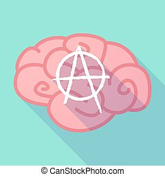 Long shadow brain with an anarchy sign - Illustration of a...