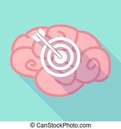 Long shadow brain with a dart board - Illustration of a long...