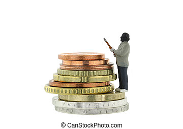 Miniature robber model standing on a pile of Euro coins -...